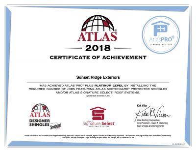 Sunset Ridge Exteriors Achieves Atlas Platinum Certificate   Madison
