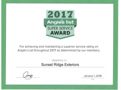 Sunset Ridge Exteriors Receives Sixth Angie's List Super Service Award