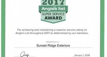 Sunset Ridge Exteriors Receives Sixth Angie's List Super Service Award