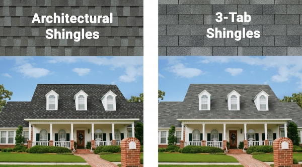 side-by-side comparison of architectural shingles and 3 tab shingles